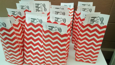 Goody bags for blood donors with HHT information