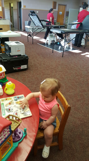 Eleanor at her desk, supervising the blood drive. :)